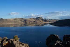 Het meer van Umayo bij Sillustani, niet ver van Puno
