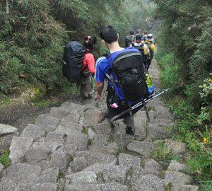 Stijle afdaling tijdens de Camino Inca