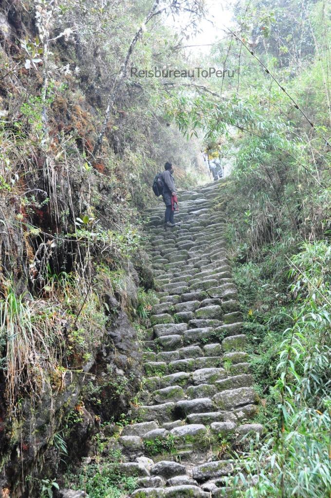Eén van de vele trappen gedurende de Inca Trail