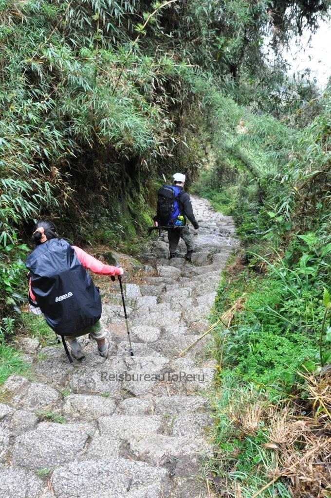 Stijle trap op de route van de Inca Trail